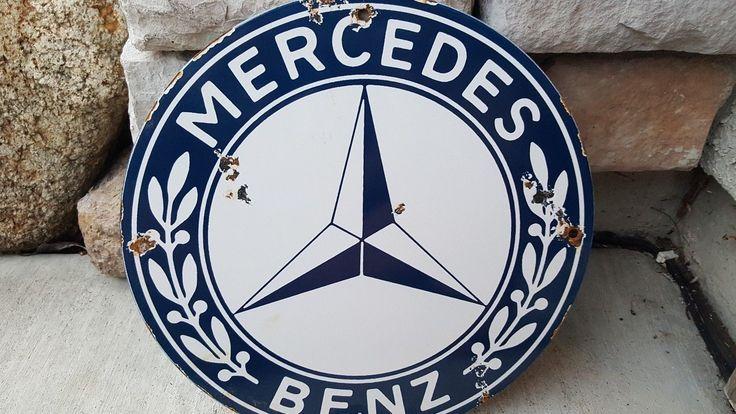 """Vintage Mercedes Motors 11 3/4"""" Porcelain Auto Gas & Sign Pump Plate"""