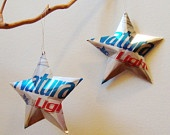 Natural Light Anheuser Busch  Beer Stars Ornaments Aluminum Can Repurposed