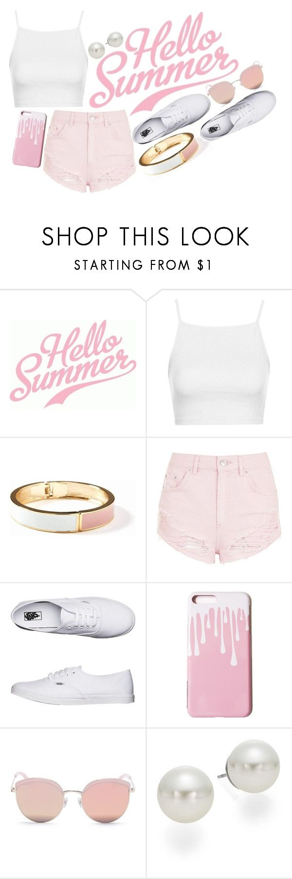 """""""Summer time!"""" by hola-hi ❤ liked on Polyvore featuring Topshop, Old Navy, Vans, Stephane + Christian, AK Anne Klein, Summer, summertime and whiteandpink"""