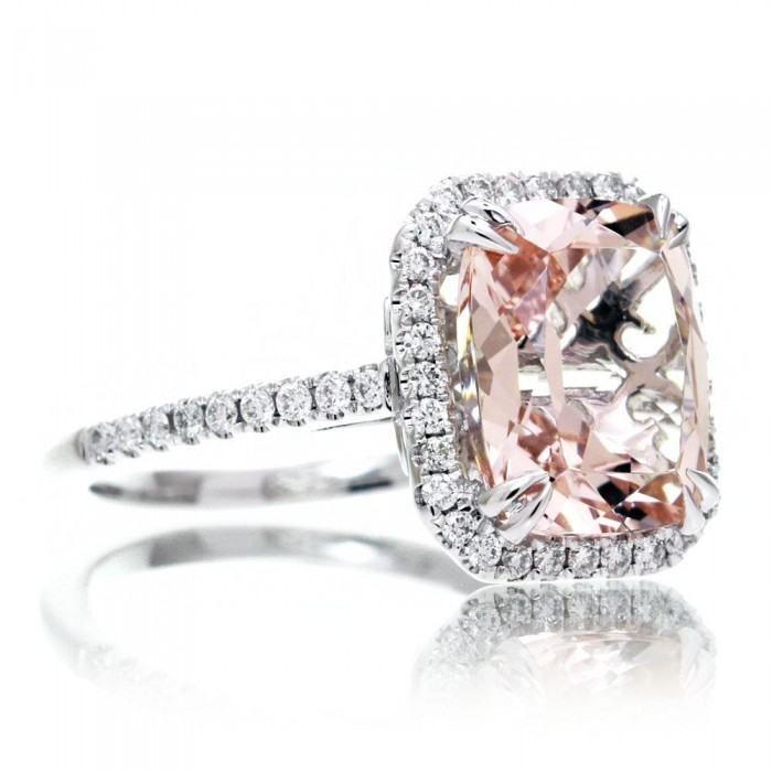 Morganite engagement ring 10x8 cushion diamond halo cathedral setting