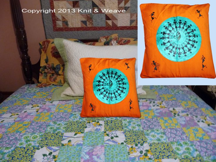 Cotton cushion covers hand painted Warli art.