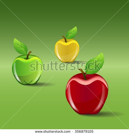 The set of red, green and yellow apples on green gradient background, vector illustration - stock vector