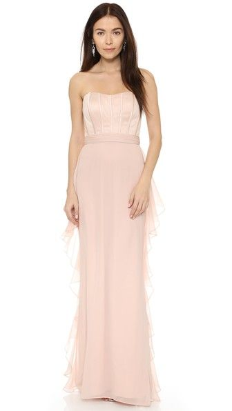 Badgley Mischka Collection Strapless Corset Ruffle Gown