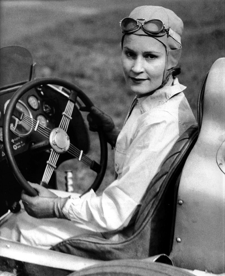 Geneva Delphine Mudge, race driver and one of the first women to have a drivers license.