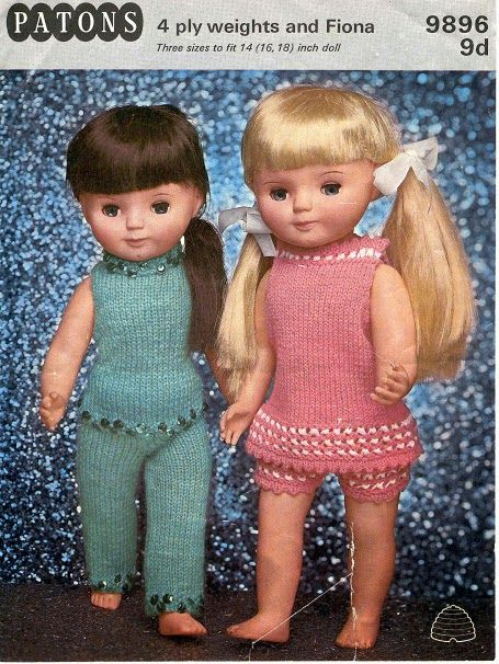 Herbie's Doll Sewing, Knitting & Crochet Pattern Collection: Vintage Patons Knitting Pattern no.9896; for 14,15 & 16 inch dolls