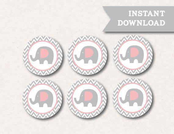 Instant Download Little Elephant Pink Grey Chevron Baby Shower Birthday Party…