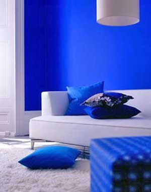 bright blue walls and a clean white couch-intense!