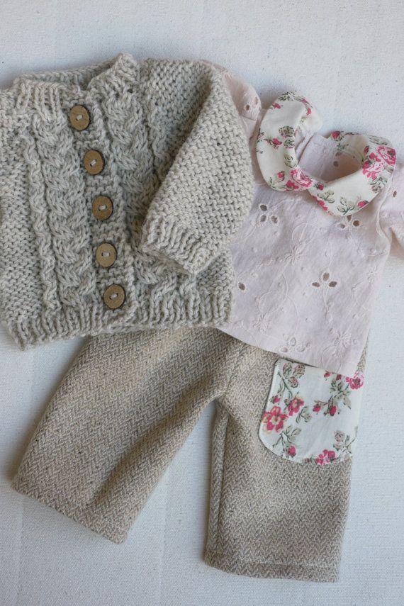 Waldorf Mädchen Puppe Kleidung - Hosen, Bluse & Pullover passen 15,16 cm Puppen tan-Creme-pink