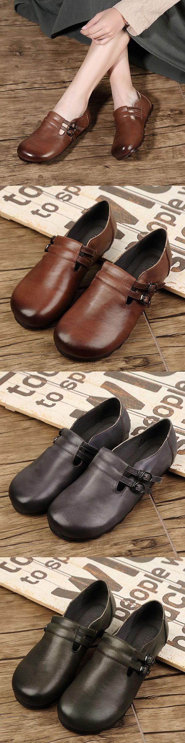 US$49.75  SOCOFY Pure Color Double Buckle Leather Retro Flat Shoes