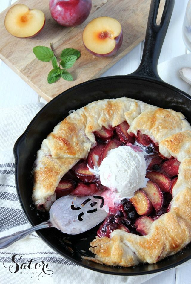 Country Style Plum & Saskatoon Berry Pie - A skillet galette that's…