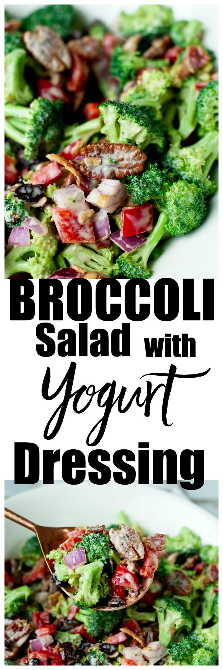 Broccoli Salad with yogurt dressing recipe. This is a healthy version of classic broccoli salad using uncured bacon and Greek yogurt. It would also make a great Christmas side dish with these colors! via @Maryea Flaherty