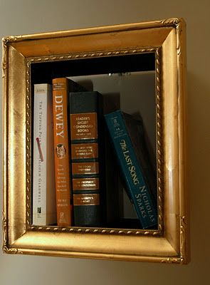 Upcycling Tips and Tricks: Picture Frame Shelves 1. Remove back of frame. 2. Use wood glue to attach small pieces of wood to the backs of the old frames. 3. Attach sturdy photo frame hooks to wood. Make sure it's centered! 4. Hang on wall, add books and decorations!
