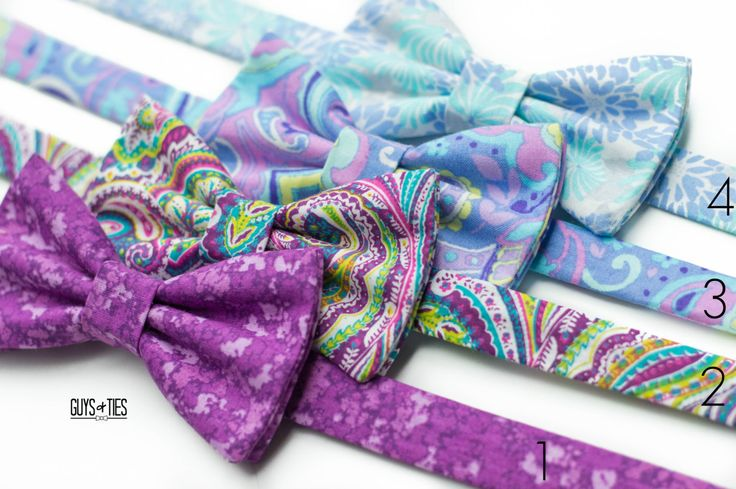 A great blend of pastel purple and blue colors making for some KILLER bow ties! Bright, bold and STUNNING! Mix and match for your wedding, or dress up all the bow tie lovers in your casa! Either way, these vibrant designs won't disappoint! #pastelpower #pastelwedding #easteraccessory #easterbowtie #purplewedding #bluewedding #mixandmatch #fathersonbowties