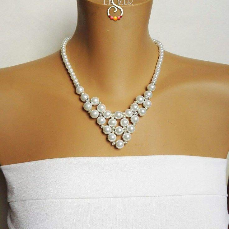 Wedding necklace, Bridal Jewelry Etsy: EstherPearlShop Tekla gyöngy és kristály rondellás nyakék. szeszeekszer.hu