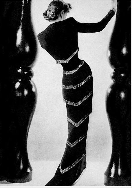 Gown by Schiaparelli. Photo: Andre Durst for British Vogue, 1936. Vintage Couture.
