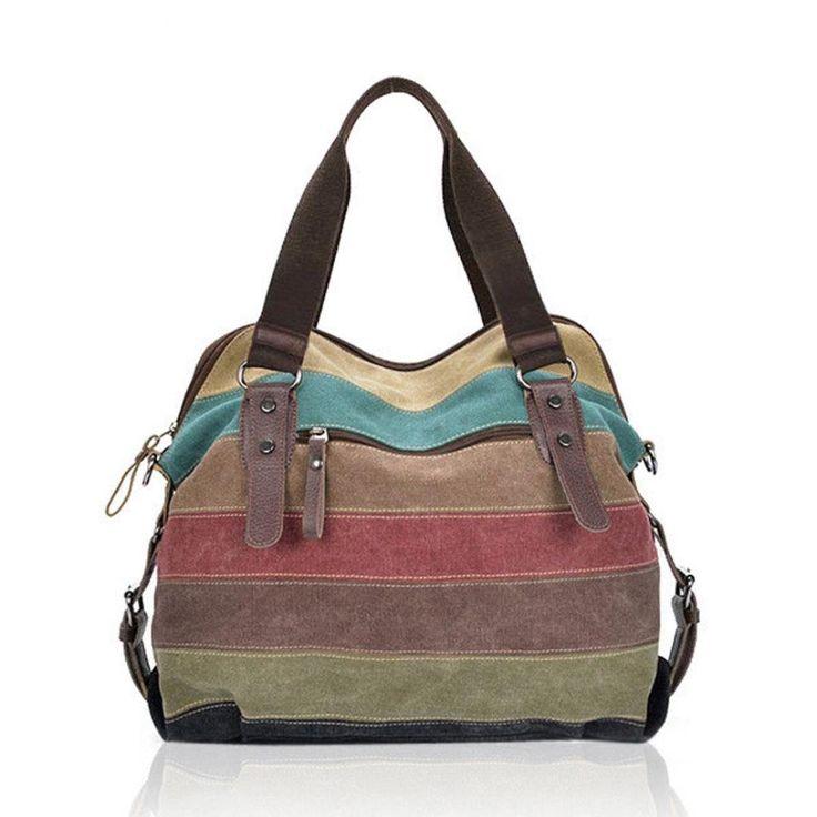 Cross Body Bags, Leewos Vintage Women Canvas Striped Shoulder Bags Contrast Color Zipper Tote Handbags