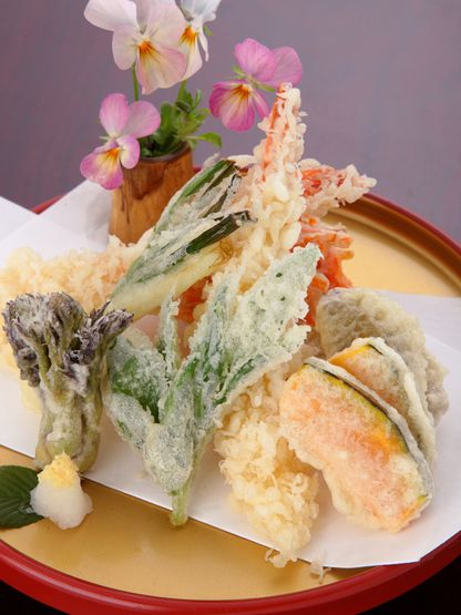 Tempura (deep-fried fish and vegetables)  pumpkin, shrimp, potate, Perilla,edible wild plants etc... eat with salt or soy sauce