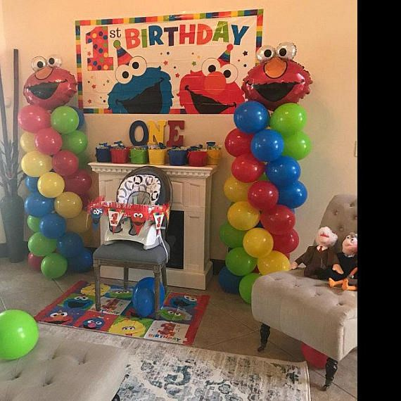 Elmo Party Balloon Columns Do It Yourself KIT easy to assemble Includes: 2 Jumbo Elmo Foil Balloons 64 - 11inch Latex Balloons Fishing Line Easy to follow instructions Great for Birthday Party! Please note that balloons do not ship inflated. You need Air for the Latex Balloons