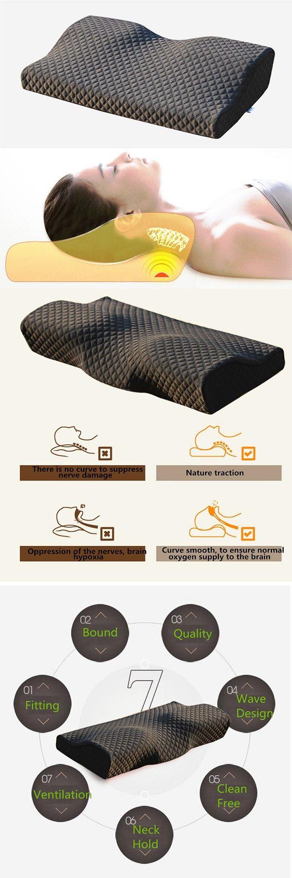 Memory Foam Pillow Cervical Spondylosis Neck Pain Relief Slow Rebound Massager Massage