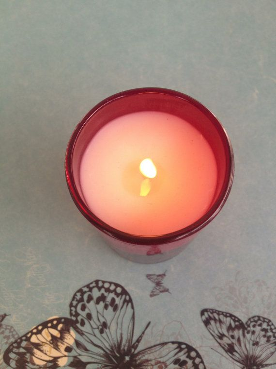 Red Votive Hand Poured Natural Soy Wax Scented by WillowandPeacock, $7.00