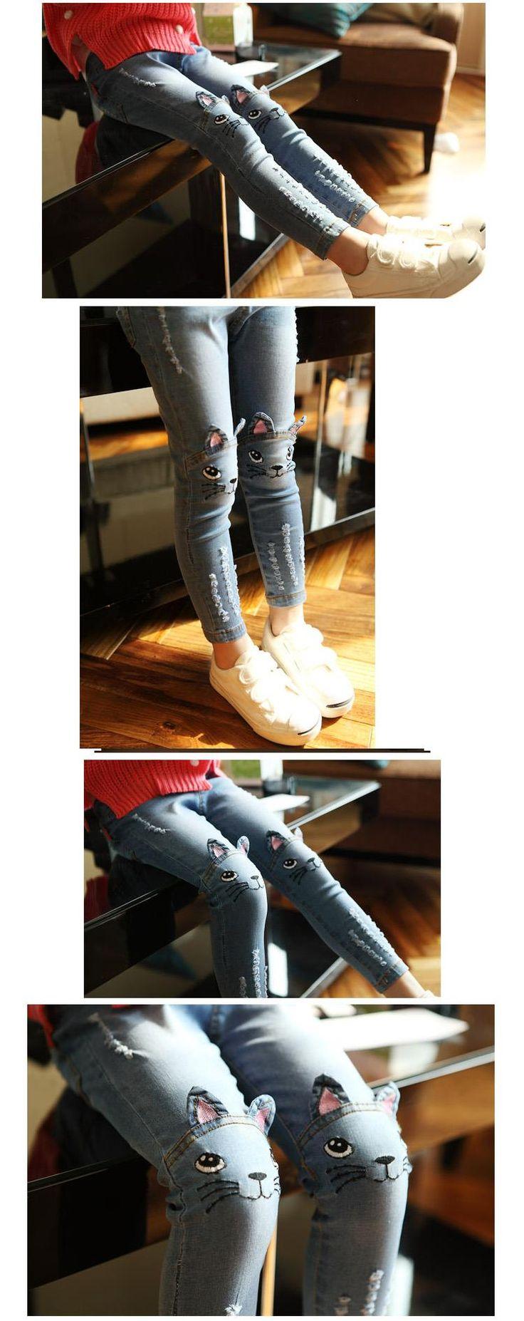 Весна осень 2016 стерео кошка джинсы для девочек дети рваные джинсы модные джинсы для подростков девушка джинсы купить на AliExpress
