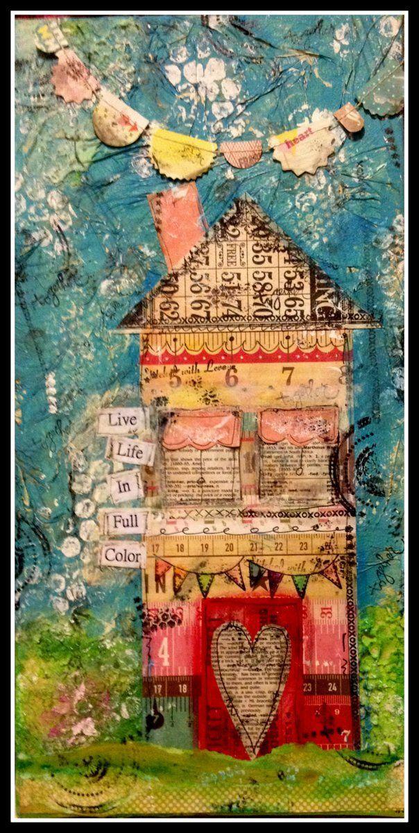 mixed media houses | Mixed Media Art Canvas