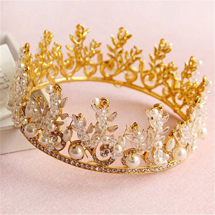 Bride Rhinestone Crystal Pearl Crown Tiara Headband Jewelry Queen Headpiece Wedding Accessories