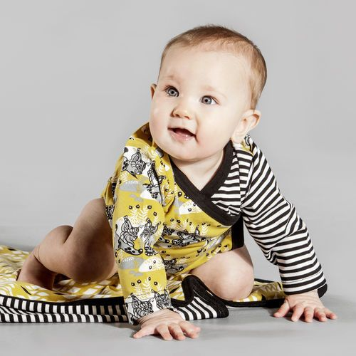 Wraparound bodysuit with striped sleeve. ILVES print with bobcats designed by Finnish artist Annika Hiltunen