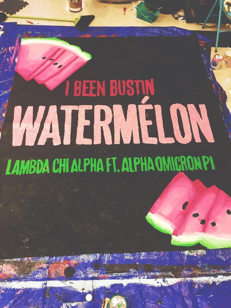 university of arkansas - alpha omicron pi (aoii) - sorority banner - lambda chi alpha watermelon bust banner - beyonce