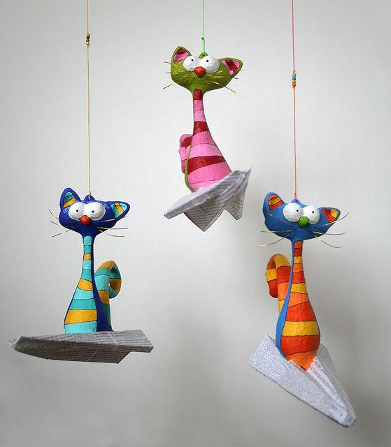 Paper mache Cats.