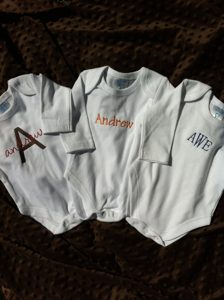 Baby Boy - Infant Boy - Gift Set - Set of 3 Personalized Monogrammed Onesies - Embroidered. $35.00, via Etsy.