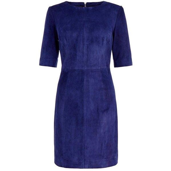 Muubaa Parang Blue Suede Dress ($240) ❤ liked on Polyvore featuring dresses, платья, blue, lined dress, full length dresses, blue short sleeve dress, blue dress and blue day dress