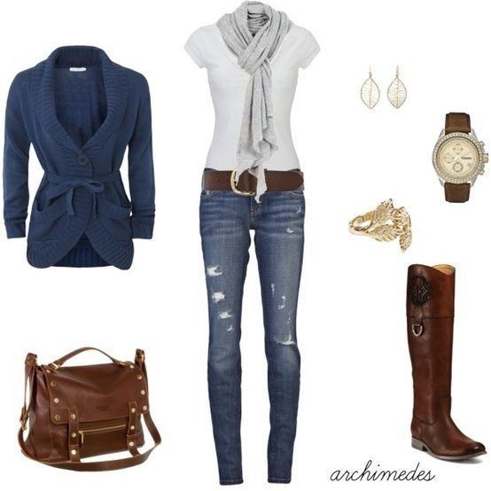 Women apparel: Sweaters, Fashion, Casual Outfit, Style, Blue, Riding Boots, Fall Outfit, Brown Boots, Cute Outfit