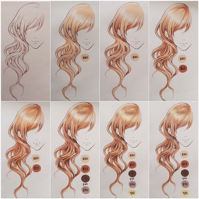 Coloring hair with copics~ Tools used are copic multiliner 0.1 in sepia, copic sketch markers E30, E33, E44, E70, Y11 and white gel pen. Hope it helps! #minmonsta_info