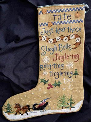 "@S.J. Smith  (""Tate's Stocking"" - Cross Stitch Pattern by Raise the Roof Designs)"