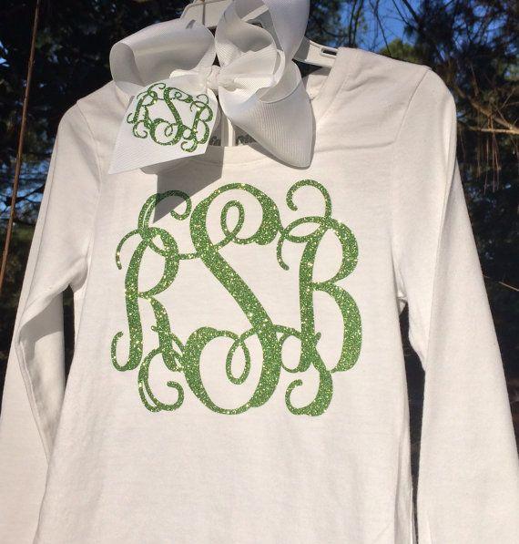 Glitter Monogram T Shirt Monogrammed Shirt Long Sleeve T Shirt Dance Cheer Southern, Monogrammed gifts, Bridesmaids,Women, Girls, Teens