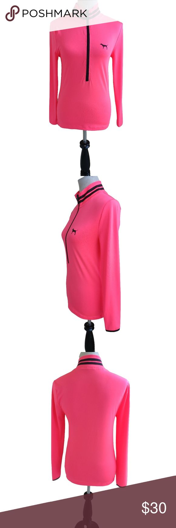 """Victoria's Secret PINK Jacket Size S Hot Pink Victoria's Secret PINK Jacket Size S Hot Pink Black Zip Up  Women's Pullover  Size:S Color:Pink, Black Style Type:Pullover; Jacket Care:Machine washable Fabric:90% Polyester; 10% Elastane Measurements:Length 24.5""""; Pit-to-Pit 16""""; Waist 31"""" More Information:Pullover style. Mock neck. Partial zip front. Black logo on left chest. Hits below hips. Has some stretch. In excellent condition- no stains, snags, or tears noted! From a pet & smoke…"""