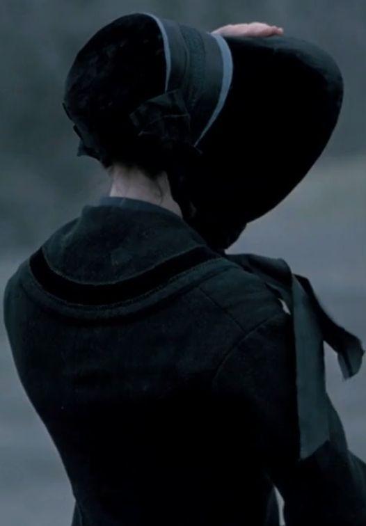 Dark, historical, Victorian, woman, cloak and bonnet, misty moors, gloomy atmosphere.