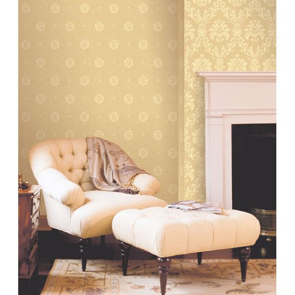 Pearl Yellow Living Room Decor With Cream Furniture And A Classic White Fireplace Mantel Gold