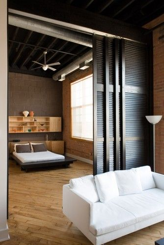 "Great idea for the office wall. Can close off or have it open. ""Wall"" can fabricated of other materials. Found at Houzz.com. Designed by Local Detroit designer Kevin Bauman."
