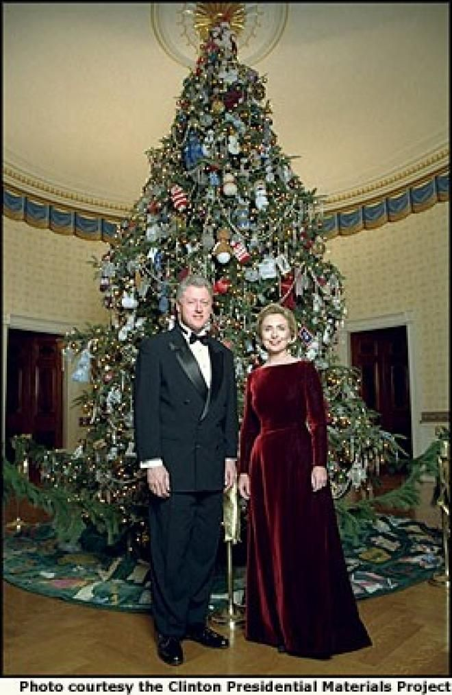 President clinton and wife celebrating christmas