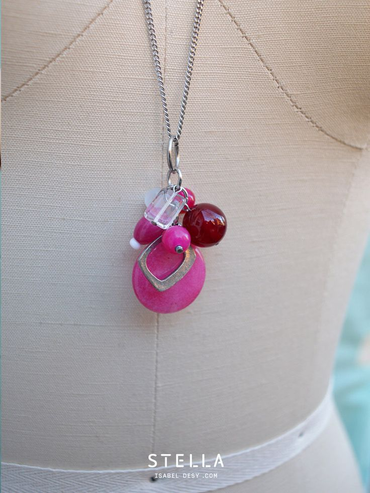 Multi Gemstone And Glass Cluster, Long Necklace. Deep Pink, Fuchsia, white, clear. Stainless Steel Chain. Neutral Colours.  by StellaIsabelDesy on Etsy https://www.etsy.com/ca/listing/257524940/multi-gemstone-and-glass-cluster-long