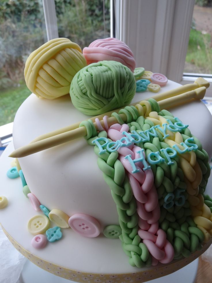 A knitting themed cake for a lovely lady celebrating her 85th birthday!