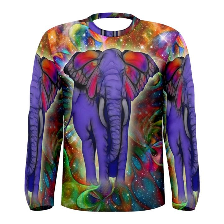 Abstract Elephant With Butterfly Ears Colorful Galaxy Men s Long Sleeve Tee
