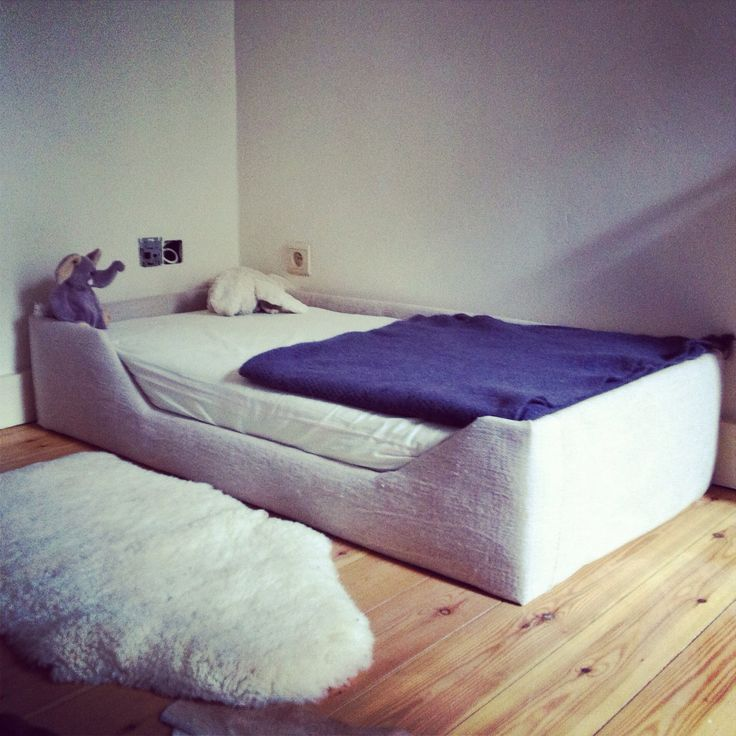 DIY: How to Make a Bed Frame for a Baby or a Kid (love the frame, would use better wood and no fabric)