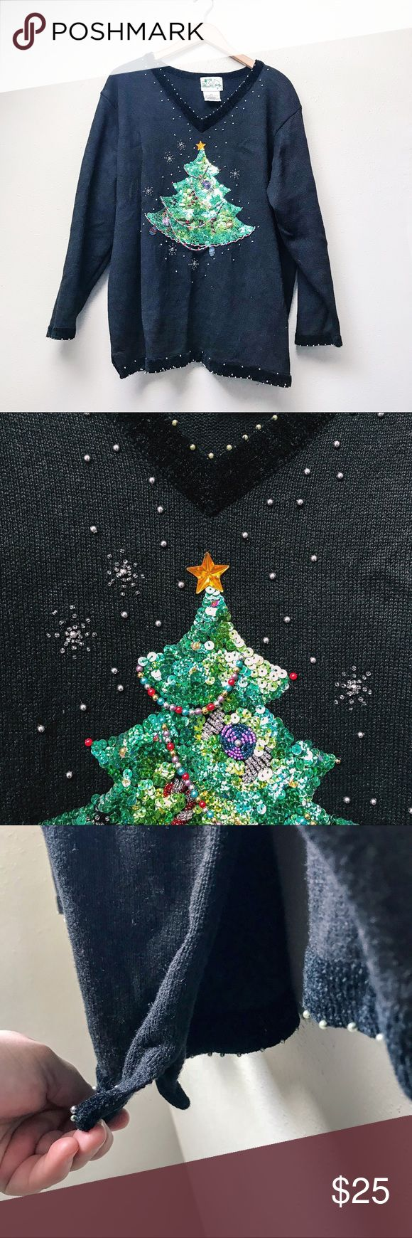 """Plus // """"Ugly"""" Christmas Sweater So cute it's ugly or so ugly it's cute ~ you decide! Perfect for the holiday season, featuring sequins and gorgeous beading. Pictures do not do this piece justice! Also super comfy. In excellent pre-loved condition with no apparent flaws.  ✅Bundle & Save 🚫Trades 🚫Off-Posh 🚫Modeling  💞Shop with ease; I'm a Posh Ambassador.💞 Sweaters"""
