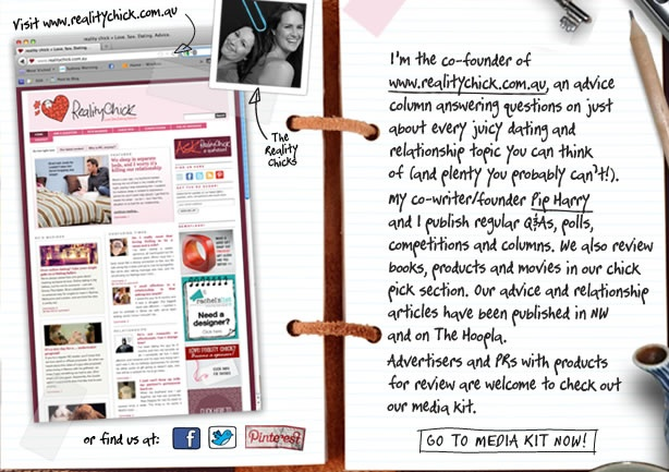 The personal website of reality chick's Rachel Smith - who's also a freelance journo, movie reviewer and copywriter.