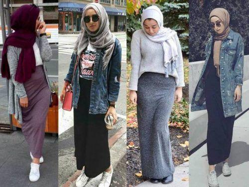 Pencil skirt with hijab-Hijab fashion gallery – Just Trendy Girls