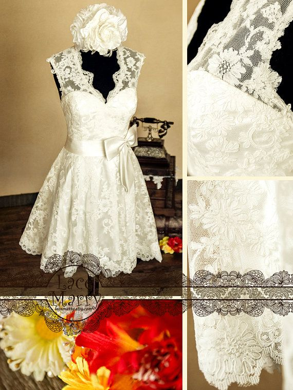 Knee Length Lace Wedding Dress Features VCut Neckline by LaceMarry - cute for rehearsal dinner!