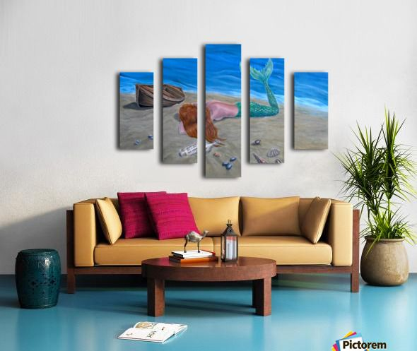 Polyptych, 5 split,  stretched, canvas, multi panel, prints, for sale, mermaid,coastal,scene,aquatic,creature,seascape,boat,marine,nautical,ashore,mythical,mythological,legendary,fantasy,dreamscape,lying,sandy, beach,tail,fin,long hair, vivid,colorful,blue,water,moody,nude,feminine,shells,bottle,message in a bottle, imagination,contemporary,realism,figurative,fine,oil,painting,wall,art,images,home,office,decor,artwork,modern,items,ideas,pictorem